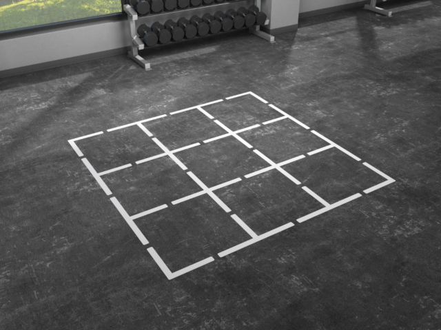 Big Blog fitness floor graphics organize your space.