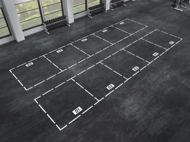 The Grid for fitness floor graphics and team athletic floor graphics