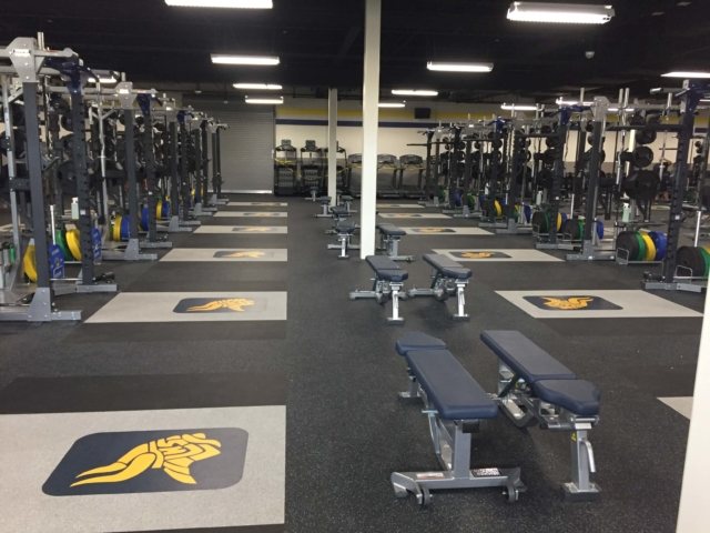 Add logos to your weight room rubber flooring or weightlifting platforms - Amercian Platforms.